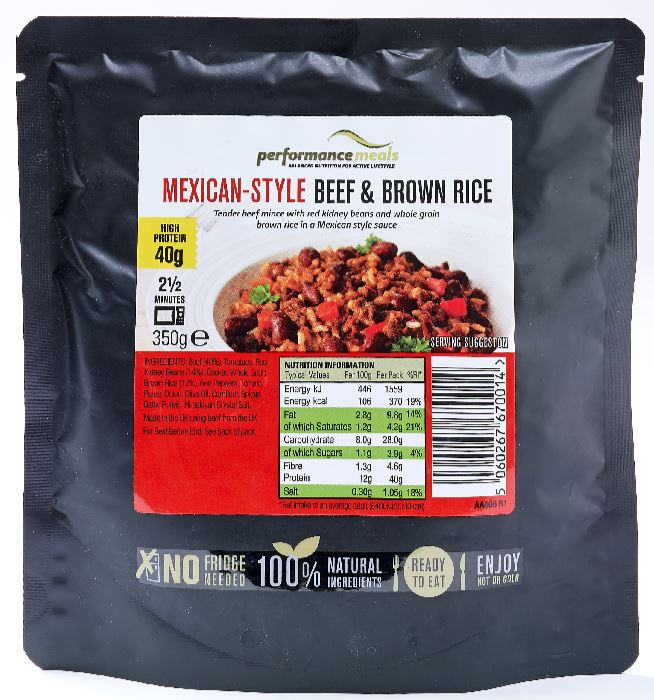 Performance Meals, Mexican Style Beef & Brown Rice – 1 Pack Health Foods UKTSG bodybuilding supplements