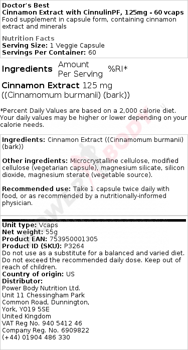 Cinnamon Extract with CinnulinPF, 125mg – 60 vcaps Special Formula UKTSG bodybuilding supplements